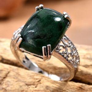 Green Aventurine Ring in Platinum Bond Brass